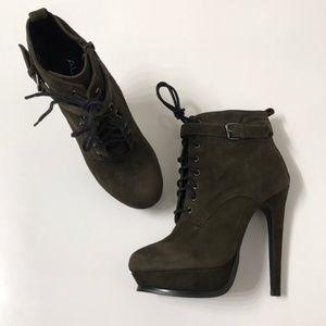Aldo Stocklin Olive Suede Platform Ankle Boot